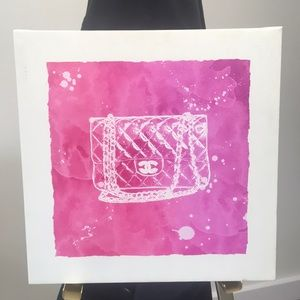 Other - Hot Pink & White Chanel Canvas Painting 🎀